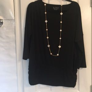 Chicos, Long Black Top with Long Band at Bottom